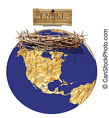 globe and crown of thorns - A globe with a crown of thorns