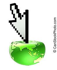 globe and cursor