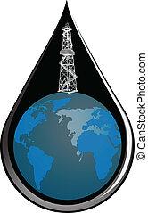 Globe and drop oil
