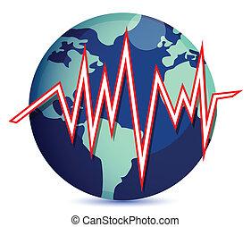 globe and earth quake lines