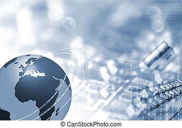 Globe and electronics - Electronics background with...