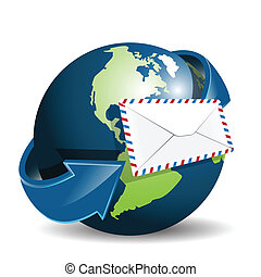 Illustration, envelope from white paper on background of the globe