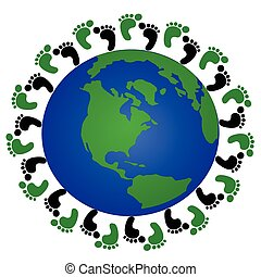 globe and footprint - footprints around the globe