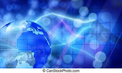 globe and graphs blue businees loop