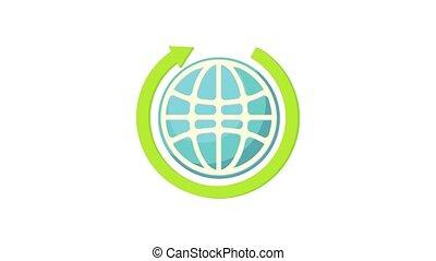 Globe and green arrow icon animation