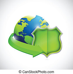 globe and green shield illustration design