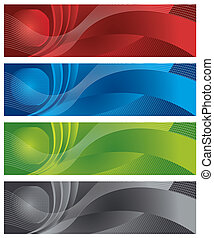 Globe and halftone digital banners