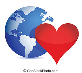 globe and heart illustration design over a white background