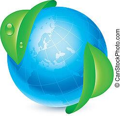Globe and leaves.