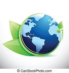 globe and leaves eco illustration design