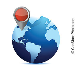 globe and locator. illustration design