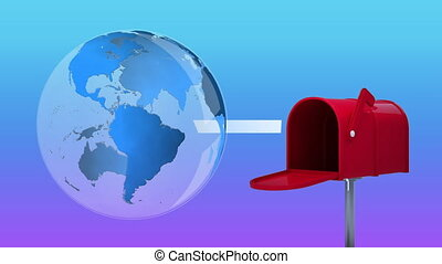 Digitally generated animation of globe rotating while red mailbox opens and sends out letters