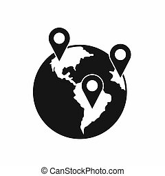 Globe and map pointers icon