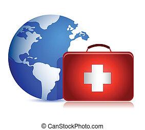 globe and medical kit illustration