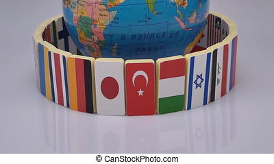 Globe and national flags of the world