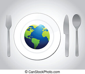 globe and plate utensils illustration design