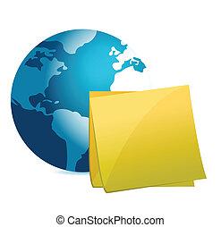 globe and post it