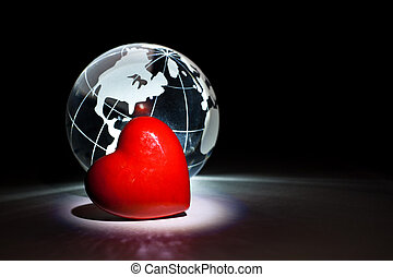Globe and red heart for background