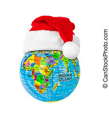 Globe and Santa Claus red christmas hat