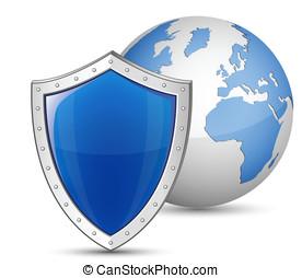 Globe and shield