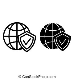 Globe and shield line and glyph icon. Planet with shield vector illustration isolated on white. Global protection outline style design, designed for web and app. Eps 10.