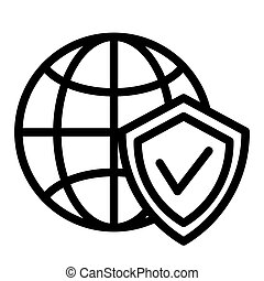 Globe and shield line icon. Planet with shield vector illustration isolated on white. Global protection outline style design, designed for web and app. Eps 10.