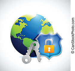 globe and shield security illustration design
