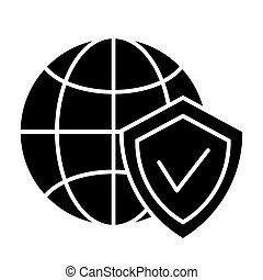 Globe and shield solid icon. Planet with shield vector illustration isolated on white. Global protection glyph style design, designed for web and app. Eps 10.