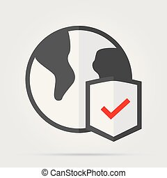 Globe and shield thin line icon. Planet with shield vector illustration isolated on white. Global protection outline style design, designed for web and app. Eps 10