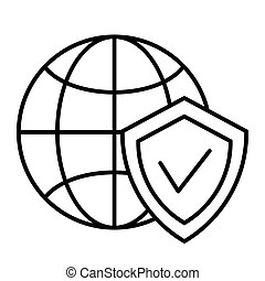 Globe and shield thin line icon. Planet with shield vector illustration isolated on white. Global protection outline style design, designed for web and app. Eps 10.