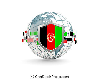 Globe and shield with flag of afghanistan isolated on white