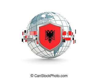 Globe and shield with flag of albania isolated on white