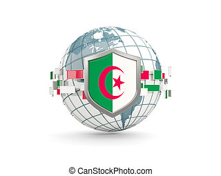 Globe and shield with flag of algeria isolated on white
