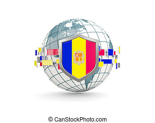 Globe and shield with flag of andorra isolated on white