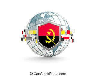 Globe and shield with flag of angola isolated on white
