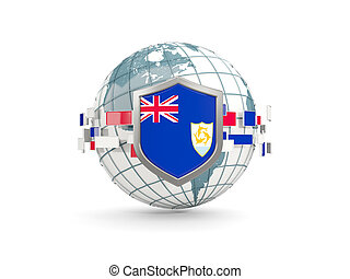 Globe and shield with flag of anguilla isolated on white