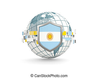 Globe and shield with flag of argentina isolated on white
