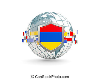 Globe and shield with flag of armenia isolated on white