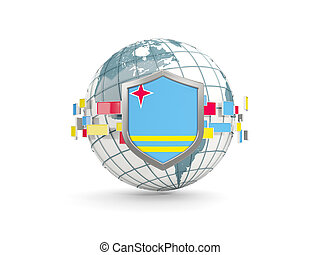 Globe and shield with flag of aruba isolated on white