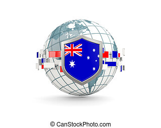 Globe and shield with flag of australia isolated on white
