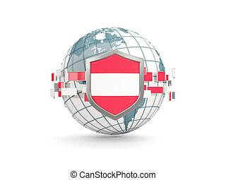 Globe and shield with flag of austria isolated on white