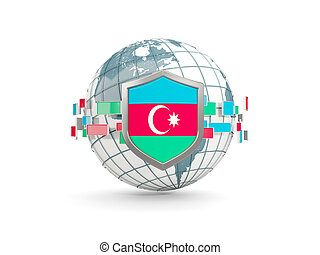 Globe and shield with flag of azerbaijan isolated on white