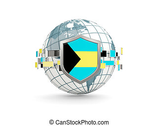 Globe and shield with flag of bahamas isolated on white