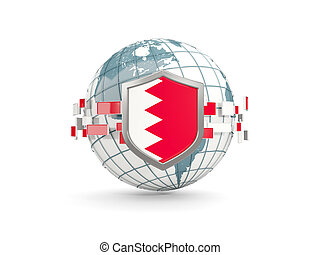 Globe and shield with flag of bahrain isolated on white