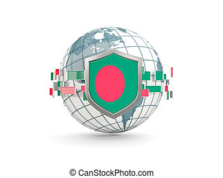 Globe and shield with flag of bangladesh isolated on white