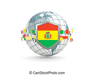 Globe and shield with flag of bolivia isolated on white