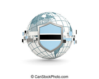 Globe and shield with flag of botswana isolated on white