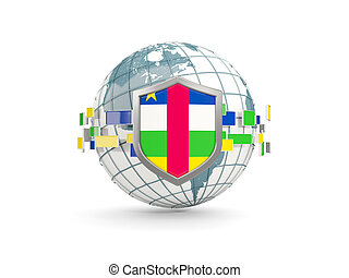 Globe and shield with flag of central african republic isolated on white
