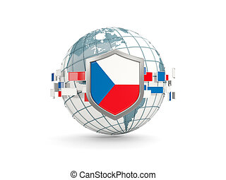 Globe and shield with flag of czech republic isolated on white