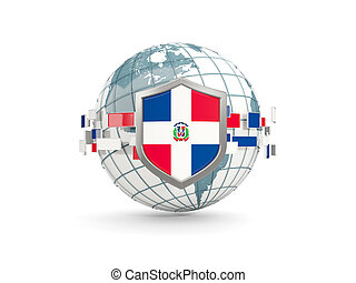 Globe and shield with flag of dominican republic isolated on white